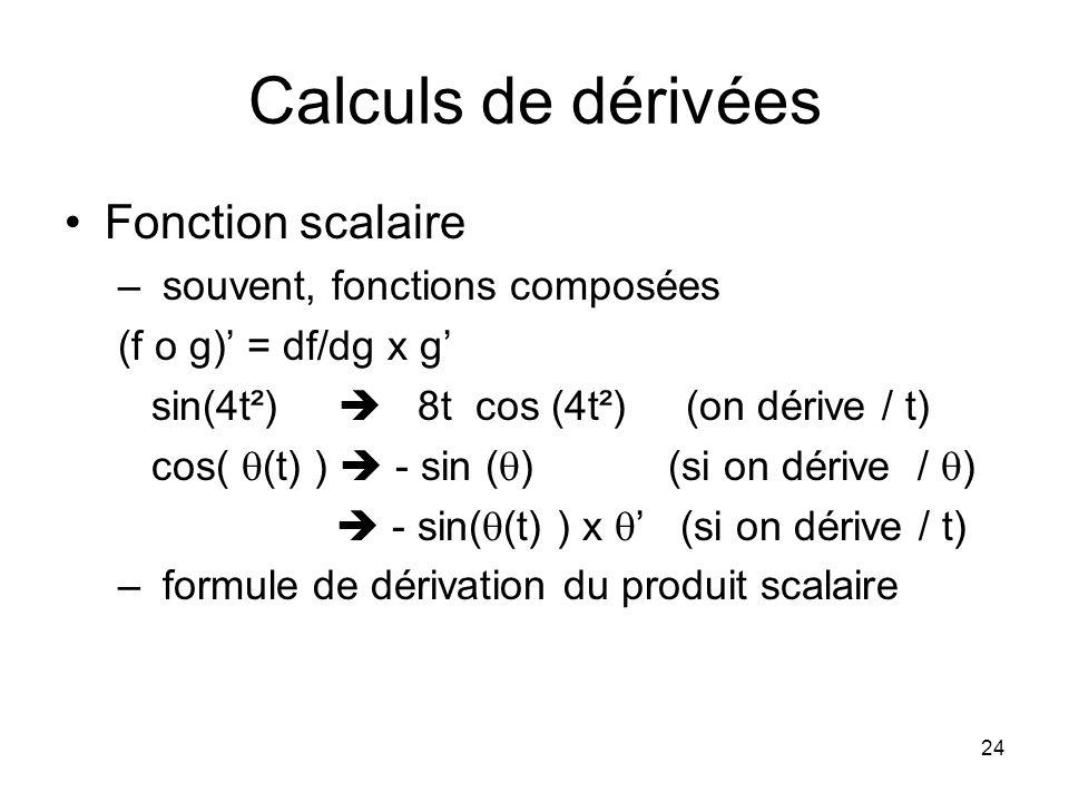 Calculs de dérivées Fonction scalaire souvent, fonctions composées