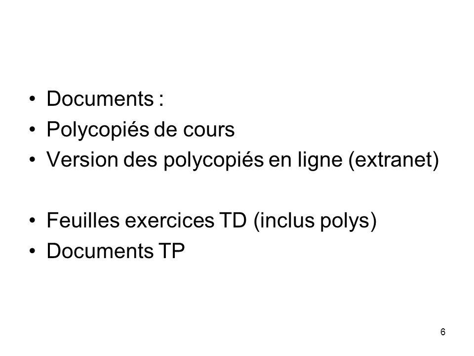 Documents : Polycopiés de cours. Version des polycopiés en ligne (extranet) Feuilles exercices TD (inclus polys)