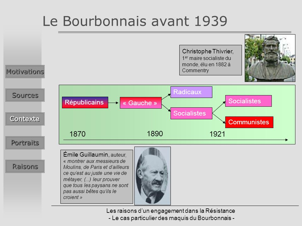 Le Bourbonnais avant 1939 1870 1890 1921 Motivations Radicaux Sources