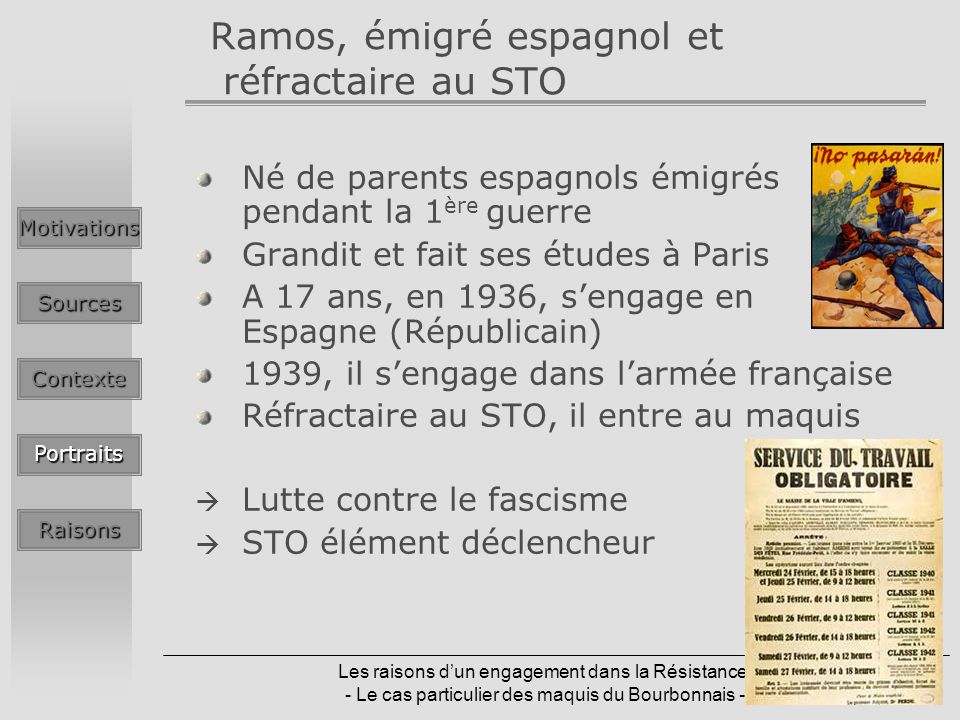 Ramos, émigré espagnol et réfractaire au STO