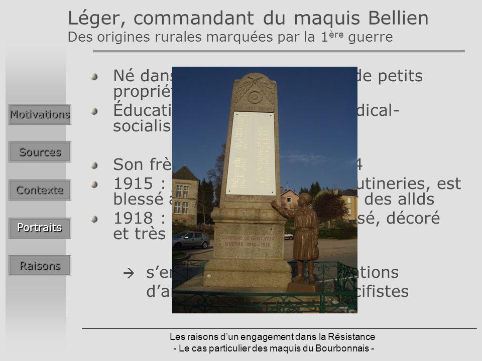 Léger, commandant du maquis Bellien Des origines rurales marquées par la 1ère guerre