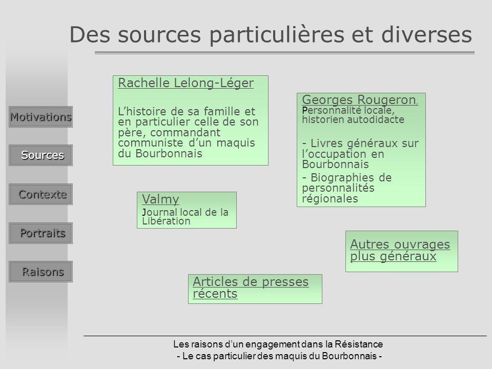 Des sources particulières et diverses