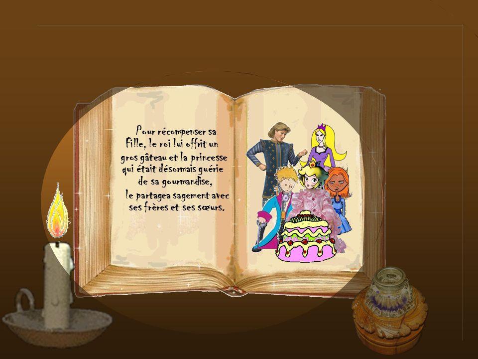 Fille, le roi lui offrit un gros gâteau et la princesse