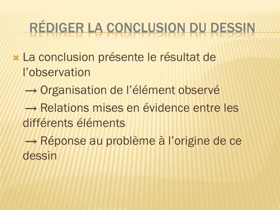 RéDIGEr LA CONCLUSION DU DESSIN