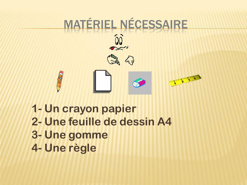 MATéRIEL NéCESSAIRE 1- Un crayon papier 2- Une feuille de dessin A4