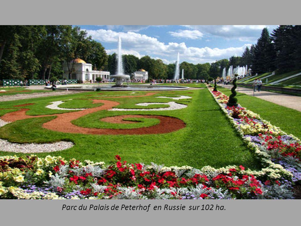 Parc du Palais de Peterhof en Russie sur 102 ha.