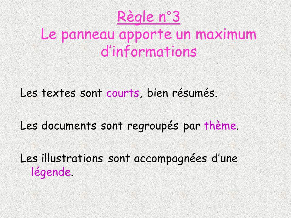 Règle n°3 Le panneau apporte un maximum d'informations
