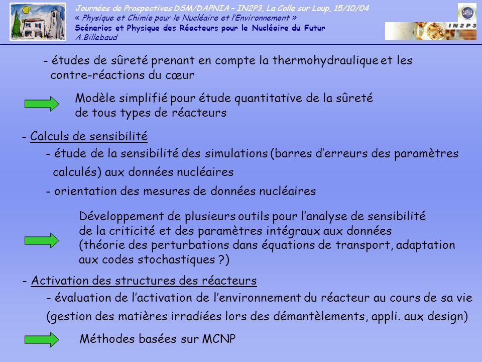 - études de sûreté prenant en compte la thermohydraulique et les