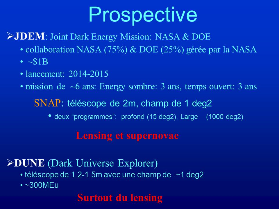 Prospective JDEM: Joint Dark Energy Mission: NASA & DOE