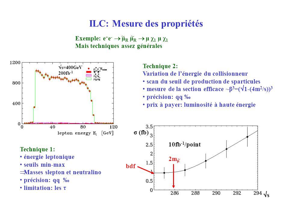 ILC: Mesure des propriétés