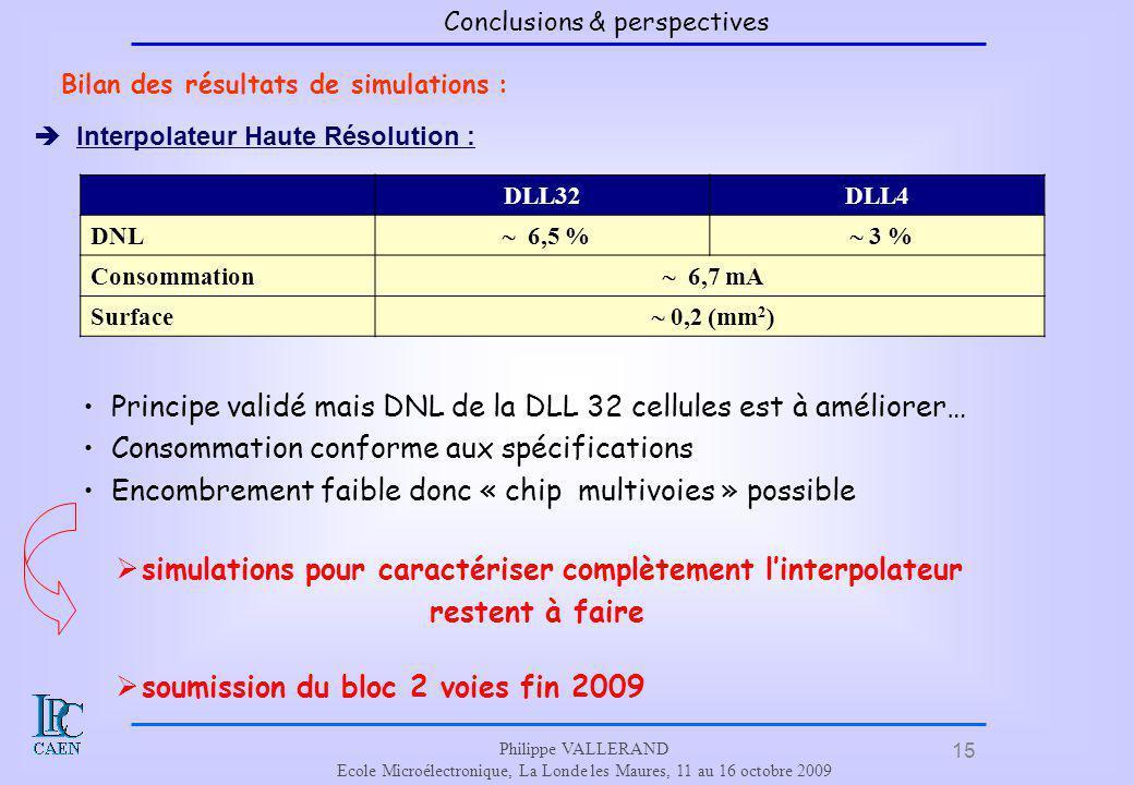 Principe validé mais DNL de la DLL 32 cellules est à améliorer…