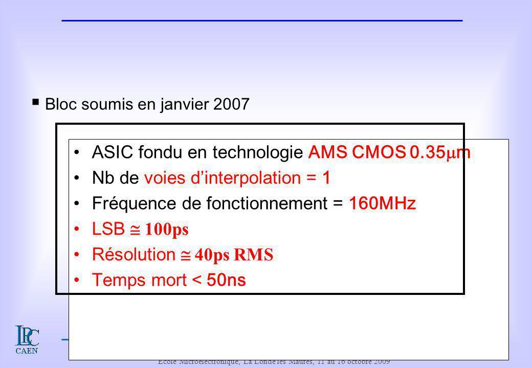 Le cahier des charges de l'interpolateur de temps
