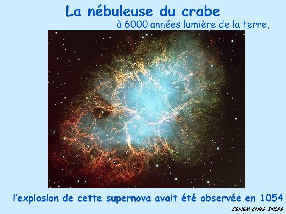 La nébuleuse du crabe à 6000 années lumière de la terre,