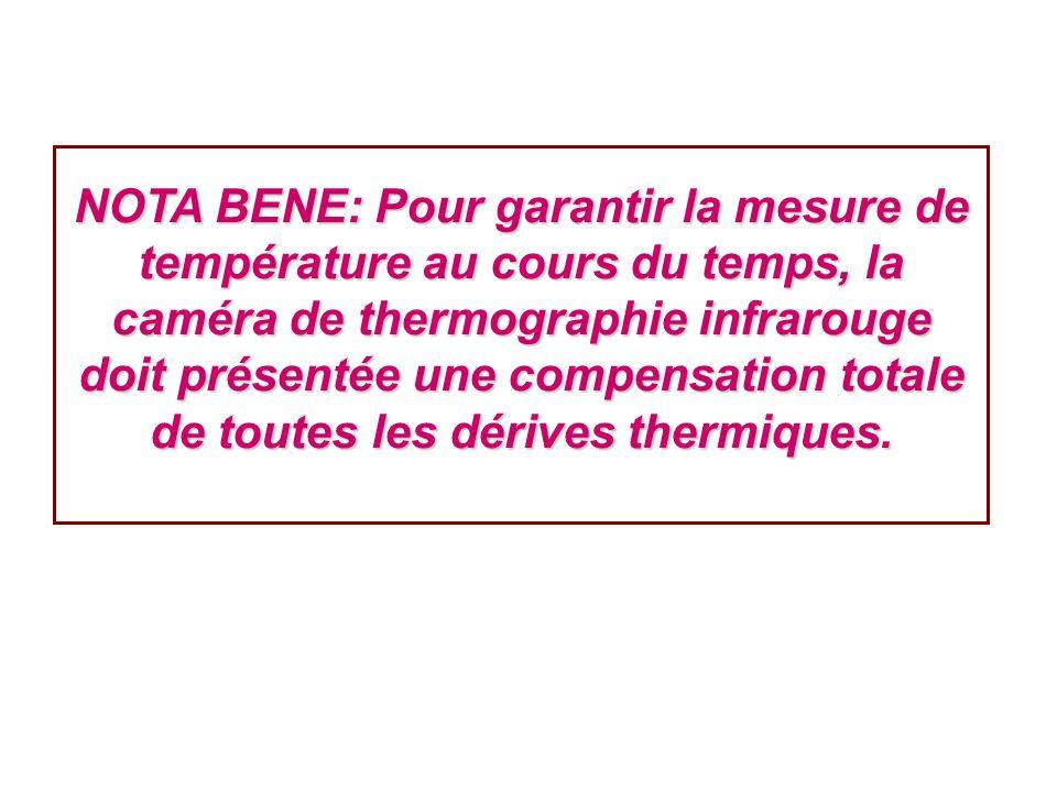 NOTA BENE: Pour garantir la mesure de température au cours du temps, la caméra de thermographie infrarouge doit présentée une compensation totale de toutes les dérives thermiques.