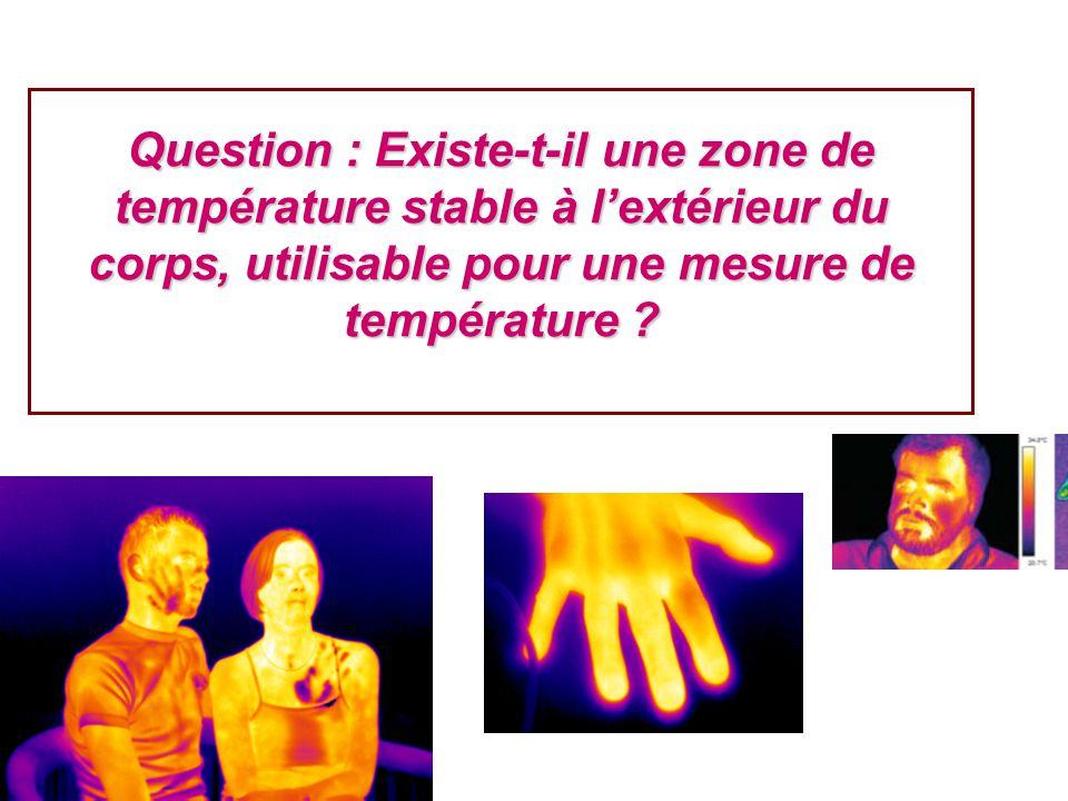 Question : Existe-t-il une zone de température stable à l'extérieur du corps, utilisable pour une mesure de température