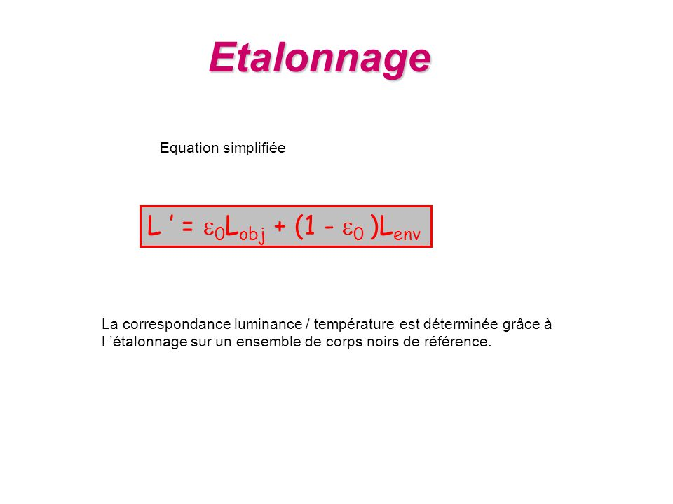 Etalonnage L ' = e0Lobj + (1 - e0 )Lenv Equation simplifiée