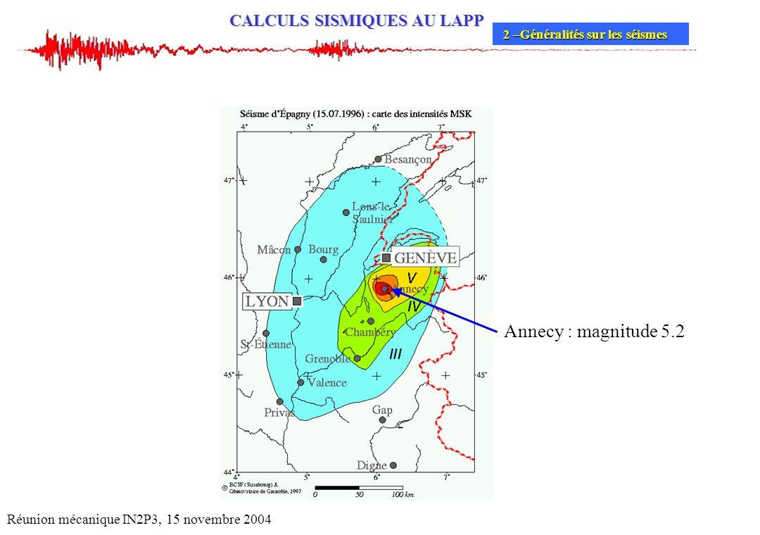 Annecy : magnitude 5.2 Réunion mécanique IN2P3, 15 novembre 2004