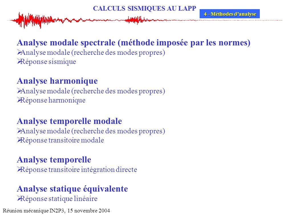 Analyse modale spectrale (méthode imposée par les normes)