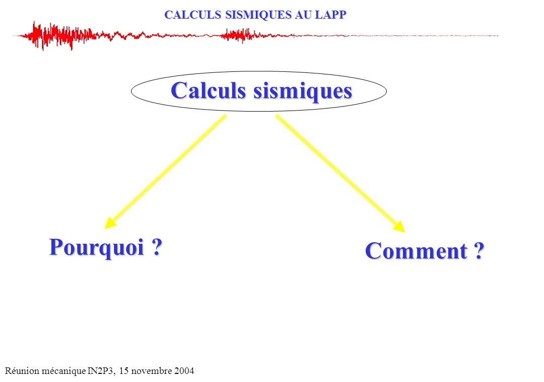 Calculs sismiques Pourquoi Comment