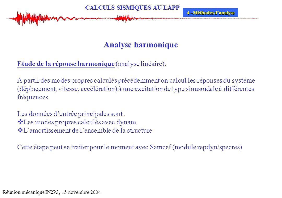 Analyse harmonique Etude de la réponse harmonique (analyse linéaire):