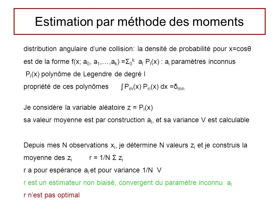 Estimation par méthode des moments