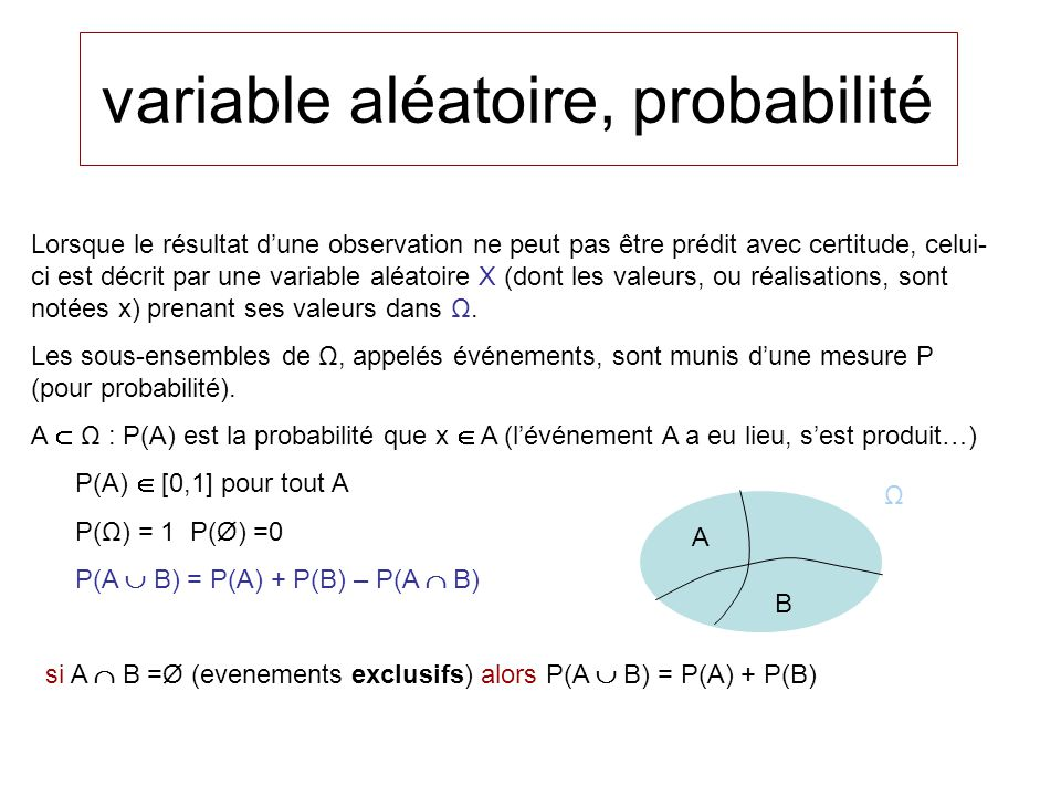 variable aléatoire, probabilité