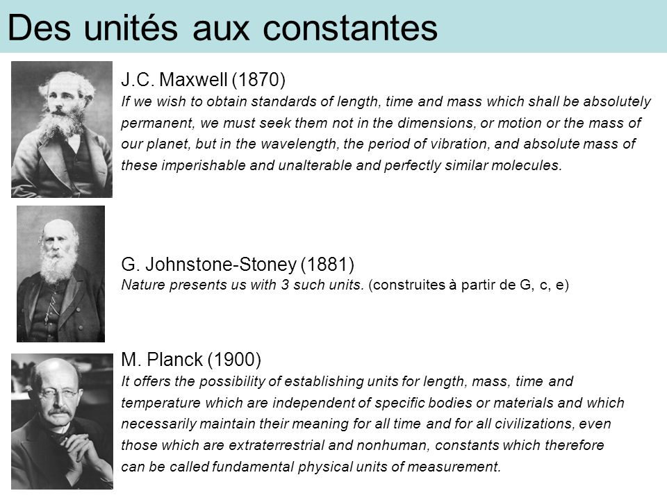 Des unités aux constantes
