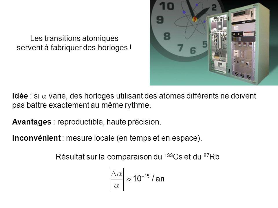 Les transitions atomiques servent à fabriquer des horloges !
