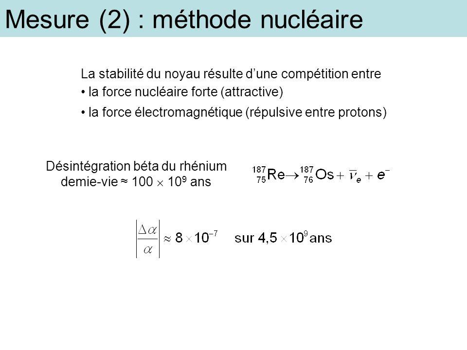 Désintégration béta du rhénium demie-vie ≈ 100  109 ans