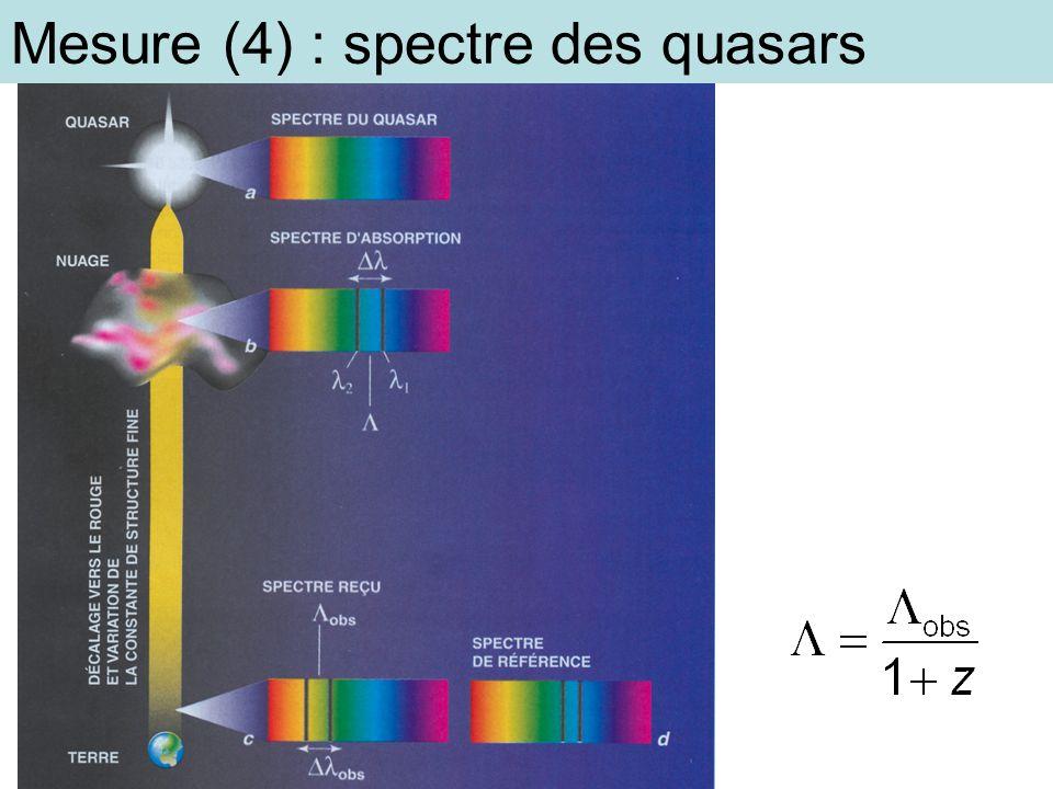 Mesure (4) : spectre des quasars