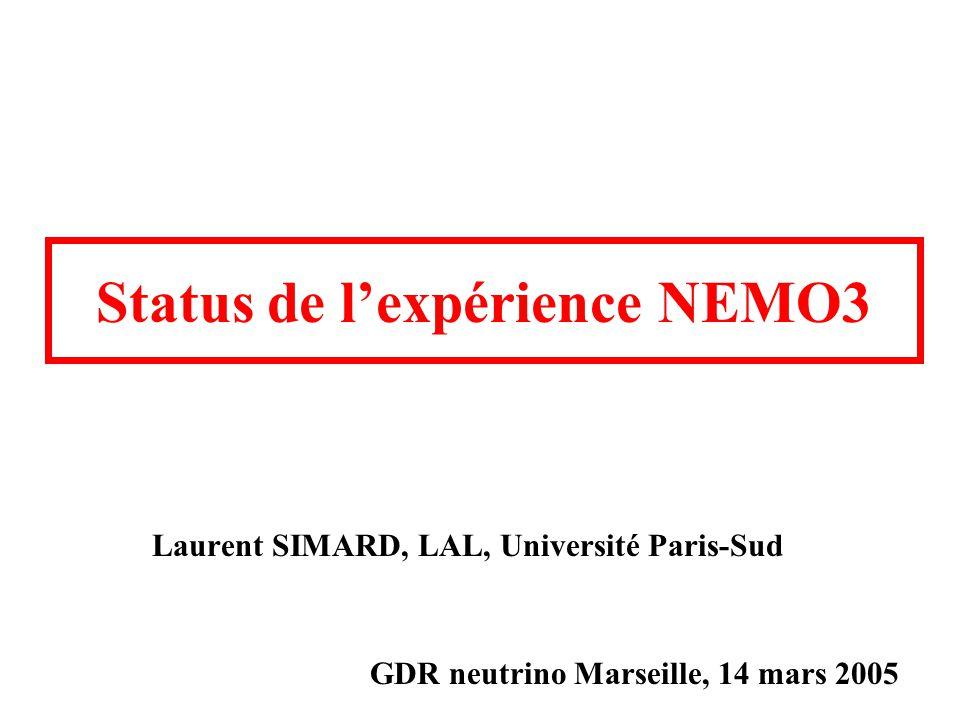 Status de l'expérience NEMO3