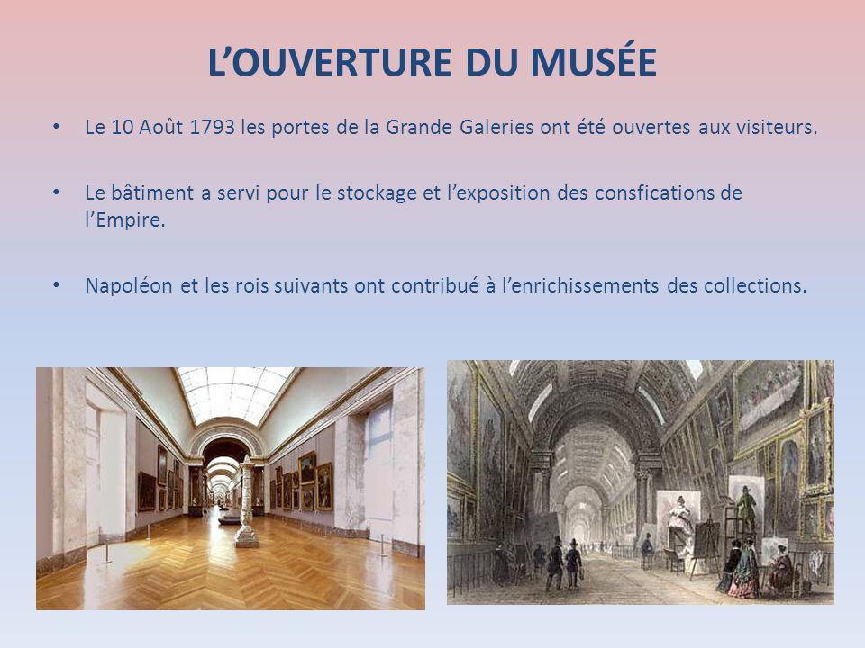 L'OUVERTURE DU MUSÉE Le 10 Août 1793 les portes de la Grande Galeries ont été ouvertes aux visiteurs.