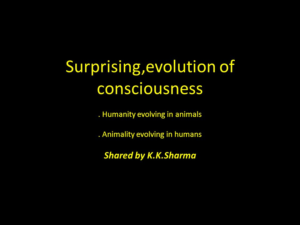 Surprising,evolution of consciousness. Humanity evolving in animals