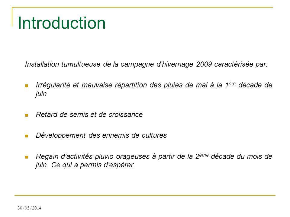 Introduction Installation tumultueuse de la campagne d'hivernage 2009 caractérisée par: