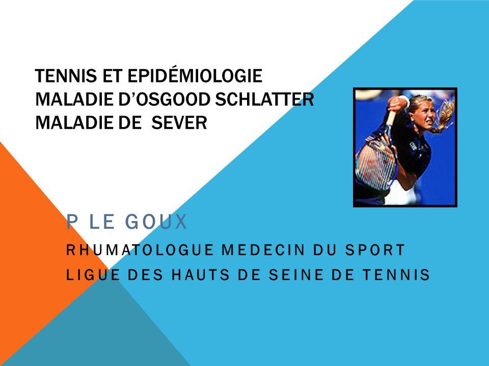 Tennis et Epidémiologie Maladie D'Osgood Schlatter Maladie de Sever