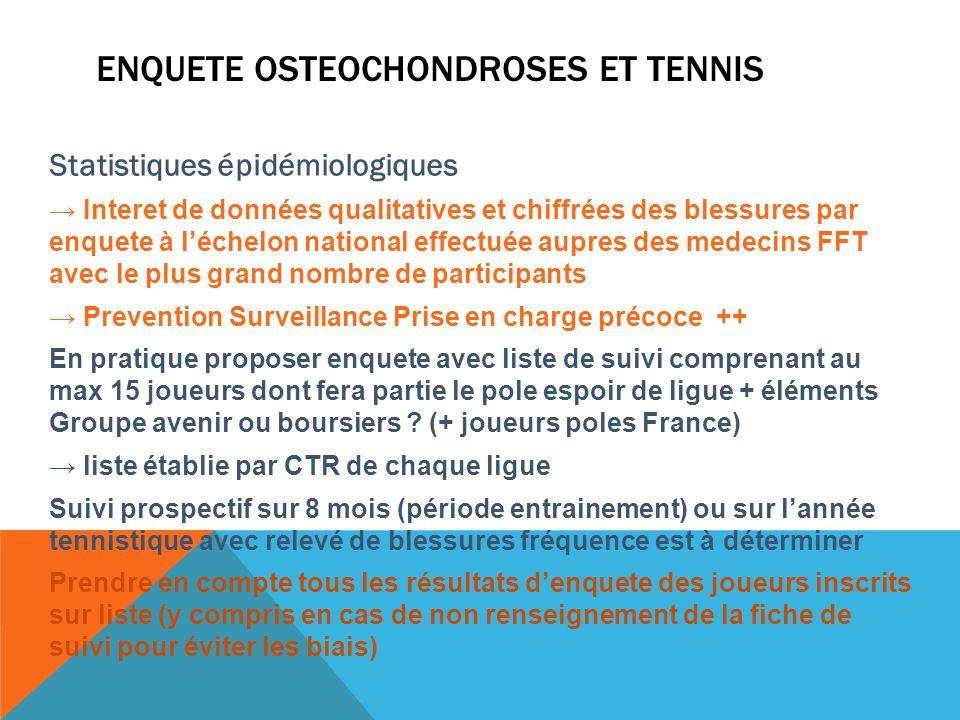 Enquete osteochondroses et Tennis