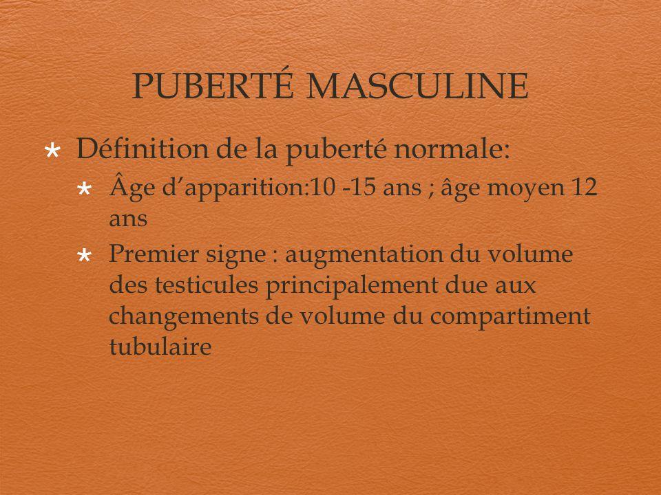 PUBERTÉ MASCULINE Définition de la puberté normale: