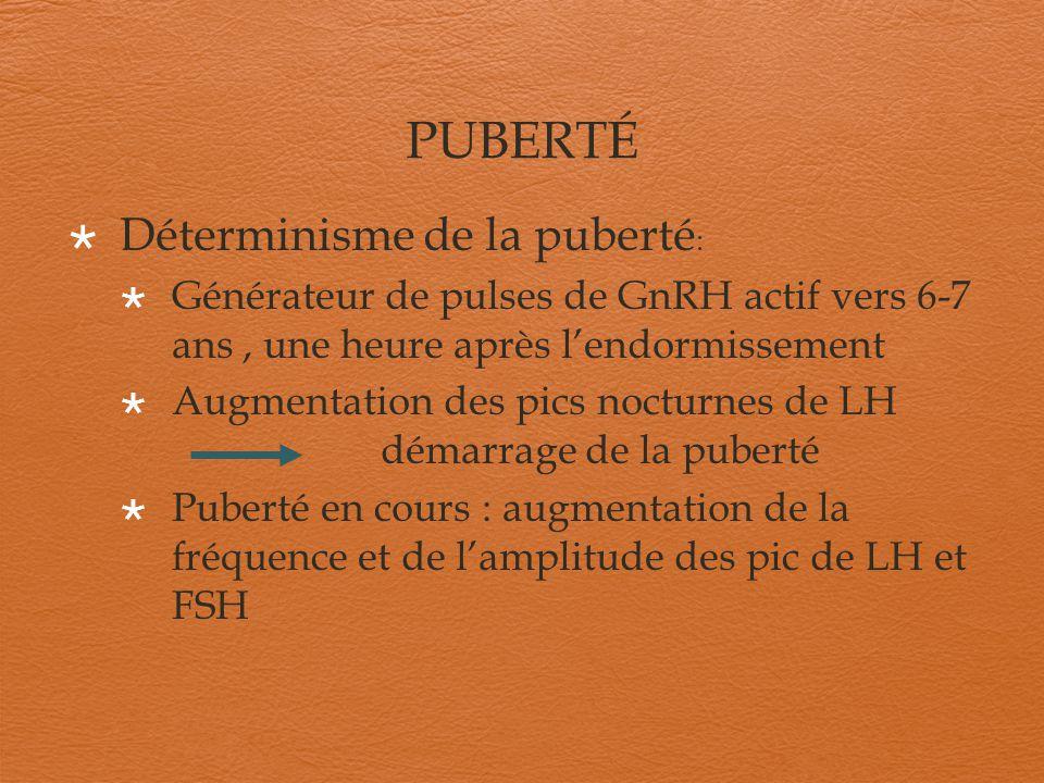 PUBERTÉ Déterminisme de la puberté:
