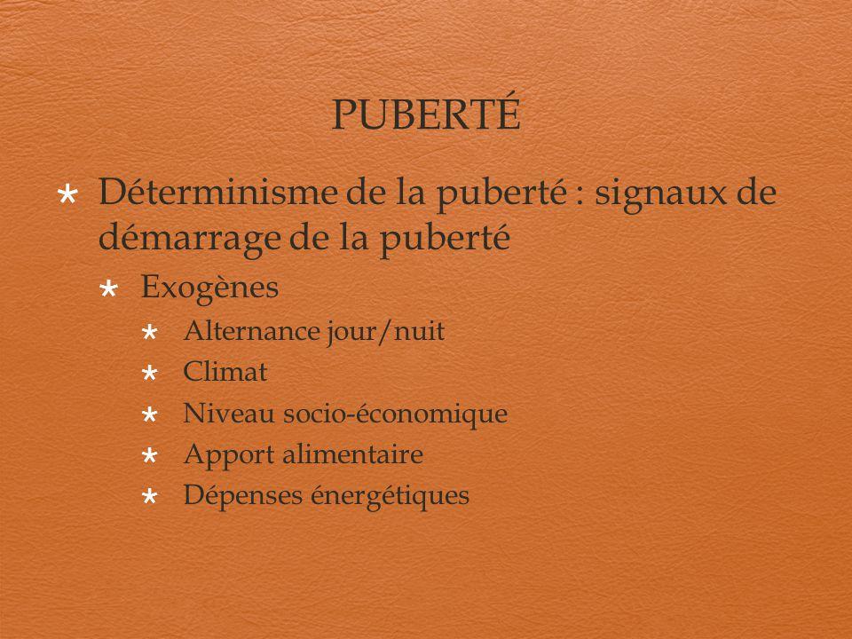PUBERTÉ Déterminisme de la puberté : signaux de démarrage de la puberté. Exogènes. Alternance jour/nuit.