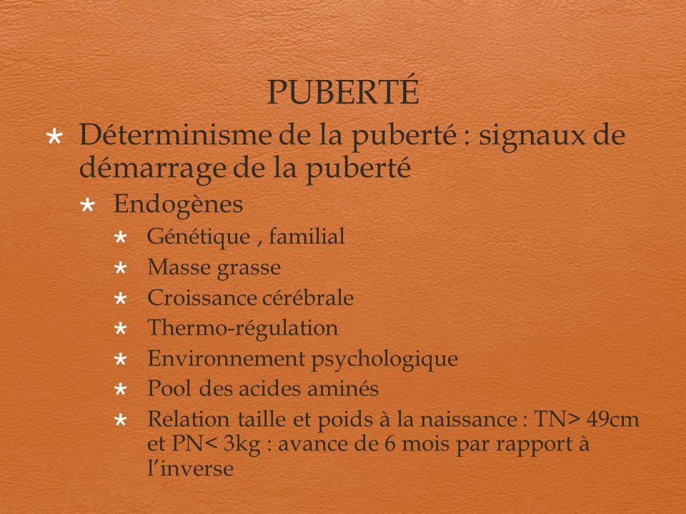PUBERTÉ Déterminisme de la puberté : signaux de démarrage de la puberté. Endogènes. Génétique , familial.