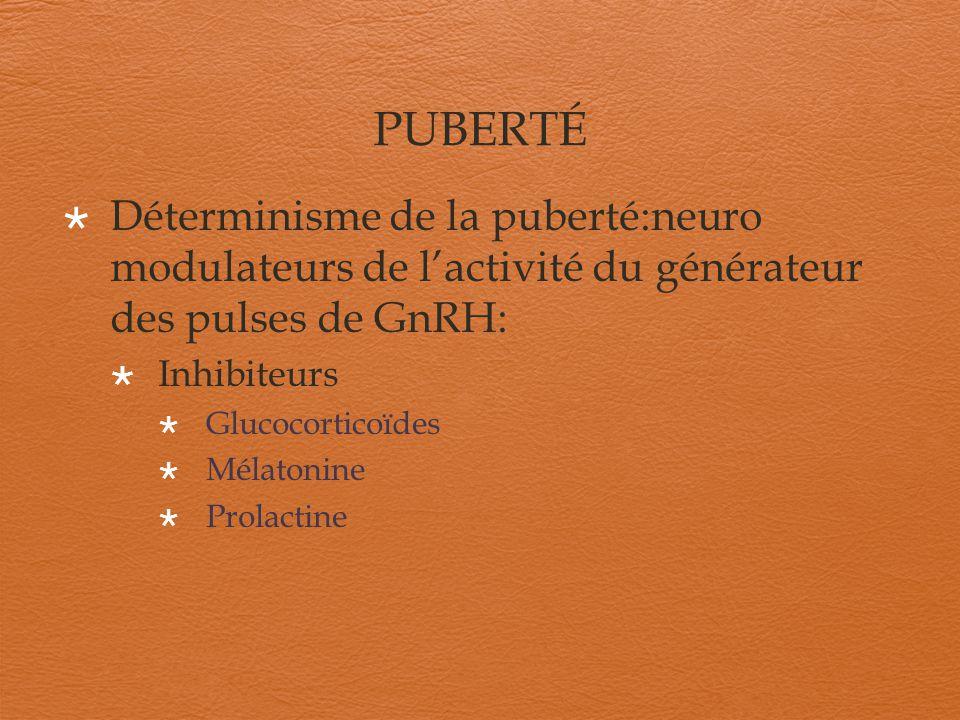 PUBERTÉ Déterminisme de la puberté:neuro modulateurs de l'activité du générateur des pulses de GnRH: