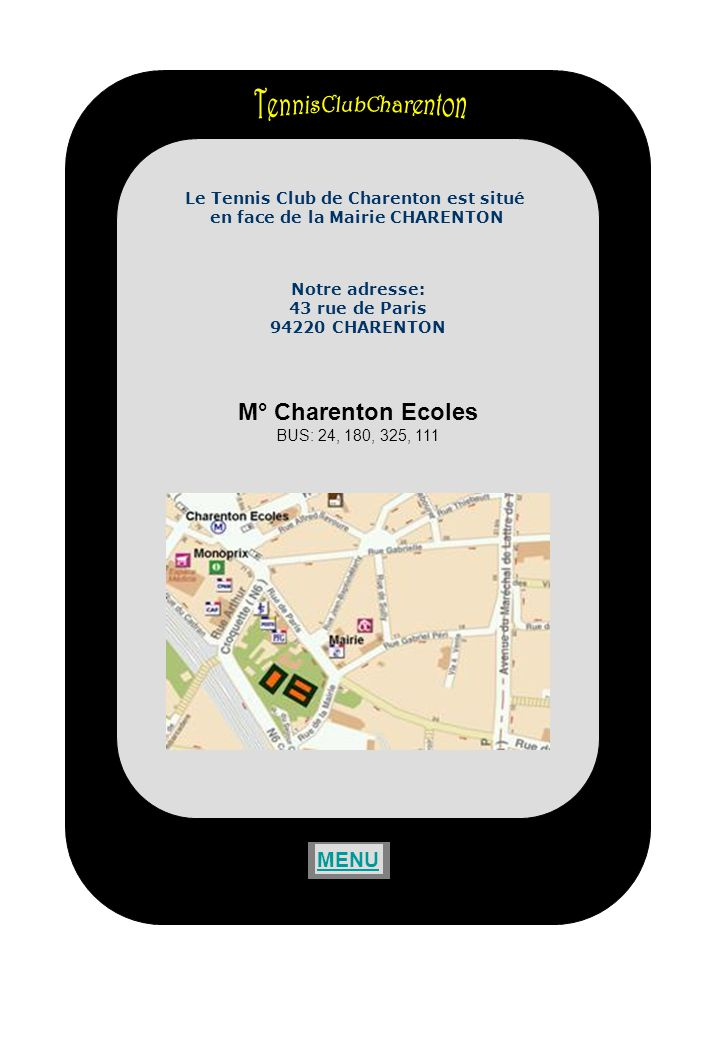 TennisClubCharenton M° Charenton Ecoles MENU