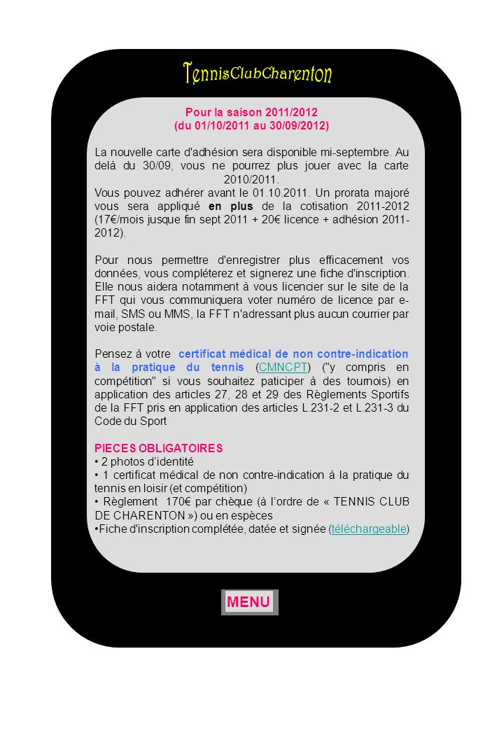 TennisClubCharenton MENU Pour la saison 2011/2012