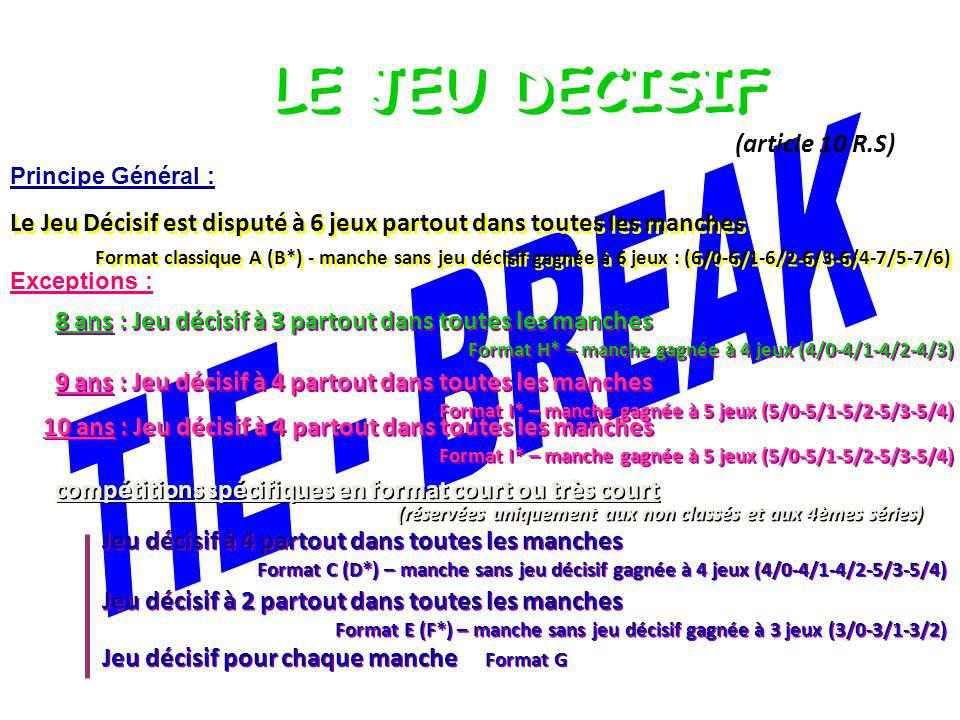 LE JEU DECISIF TIE - BREAK (article 10 R.S)