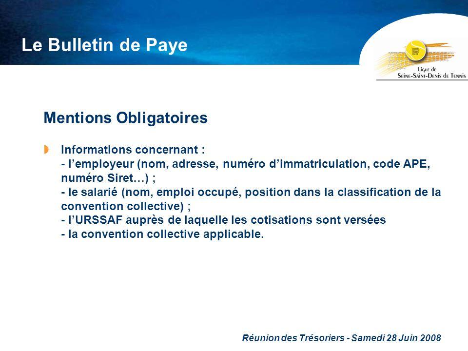 Réunion des Trésoriers - Samedi 28 Juin 2008