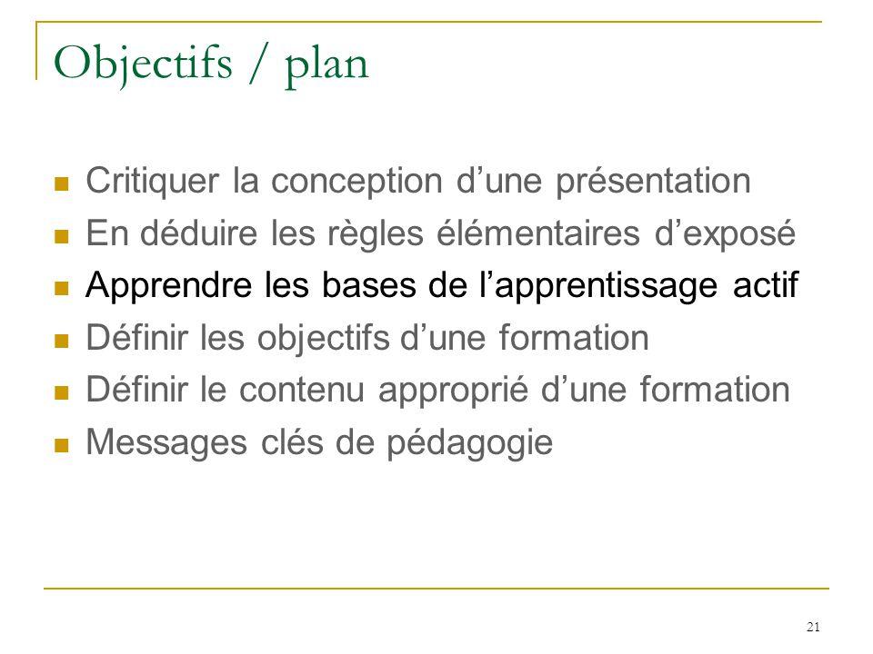 Objectifs / plan Critiquer la conception d'une présentation
