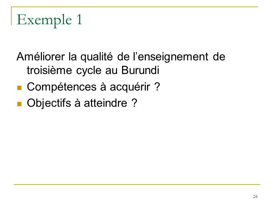Exemple 1 Améliorer la qualité de l'enseignement de troisième cycle au Burundi. Compétences à acquérir