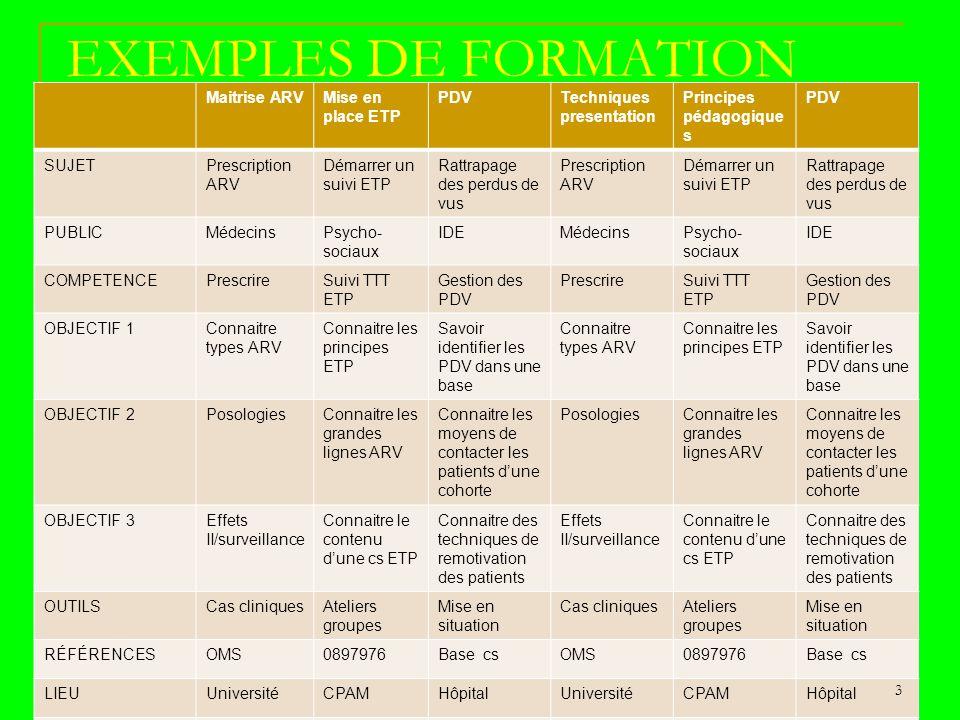 EXEMPLES DE FORMATION Maitrise ARV Mise en place ETP PDV