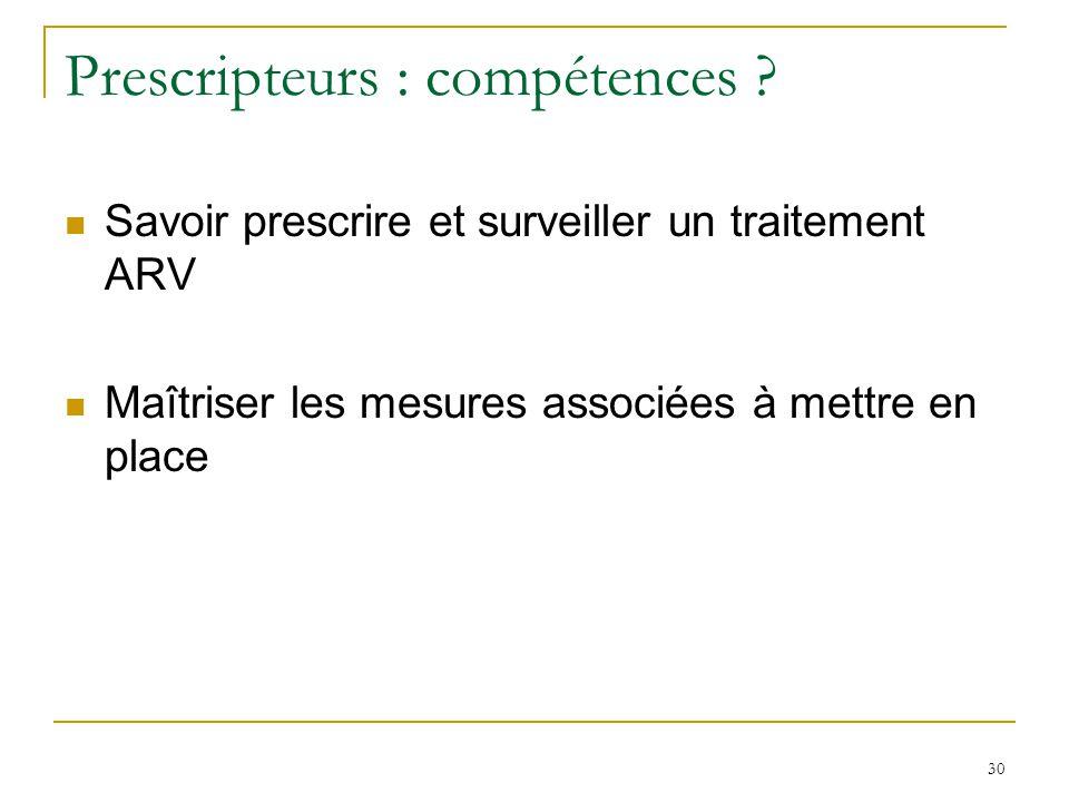 Prescripteurs : compétences