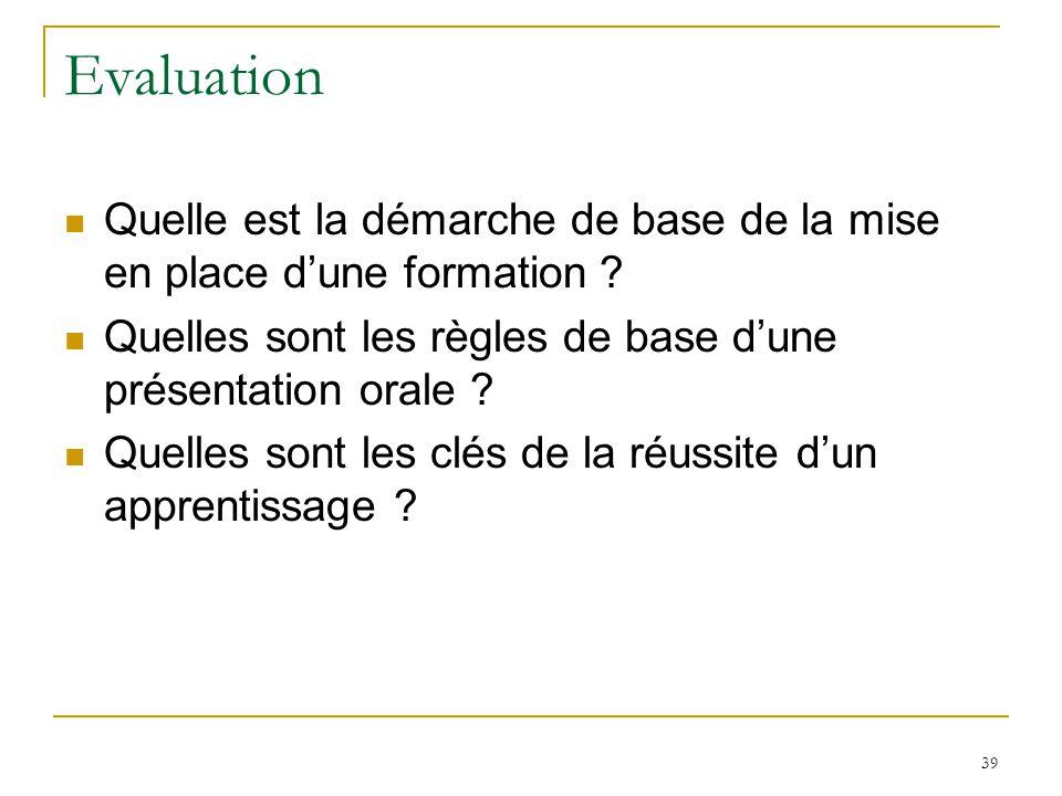 Evaluation Quelle est la démarche de base de la mise en place d'une formation Quelles sont les règles de base d'une présentation orale